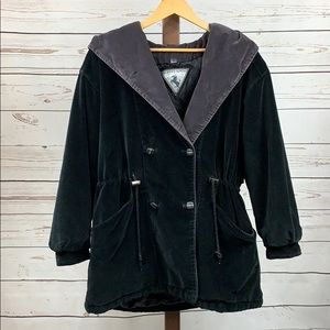 Albert Nipon Sport Black Velvet Hooded Button Coat